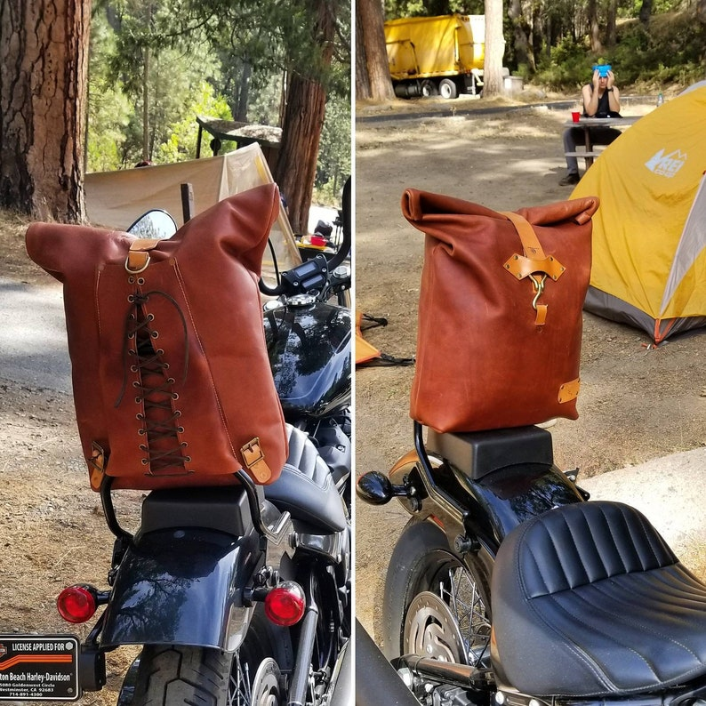 d54b954061c Sissy bar bag Chopper bag Motorcycle backpack Horween | Etsy