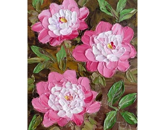 Pink Peonies Original impasto oil painting No.04-35 ready to hang