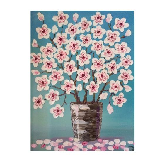 magnolie blumen in einer vase original pastosen lgem lde etsy. Black Bedroom Furniture Sets. Home Design Ideas