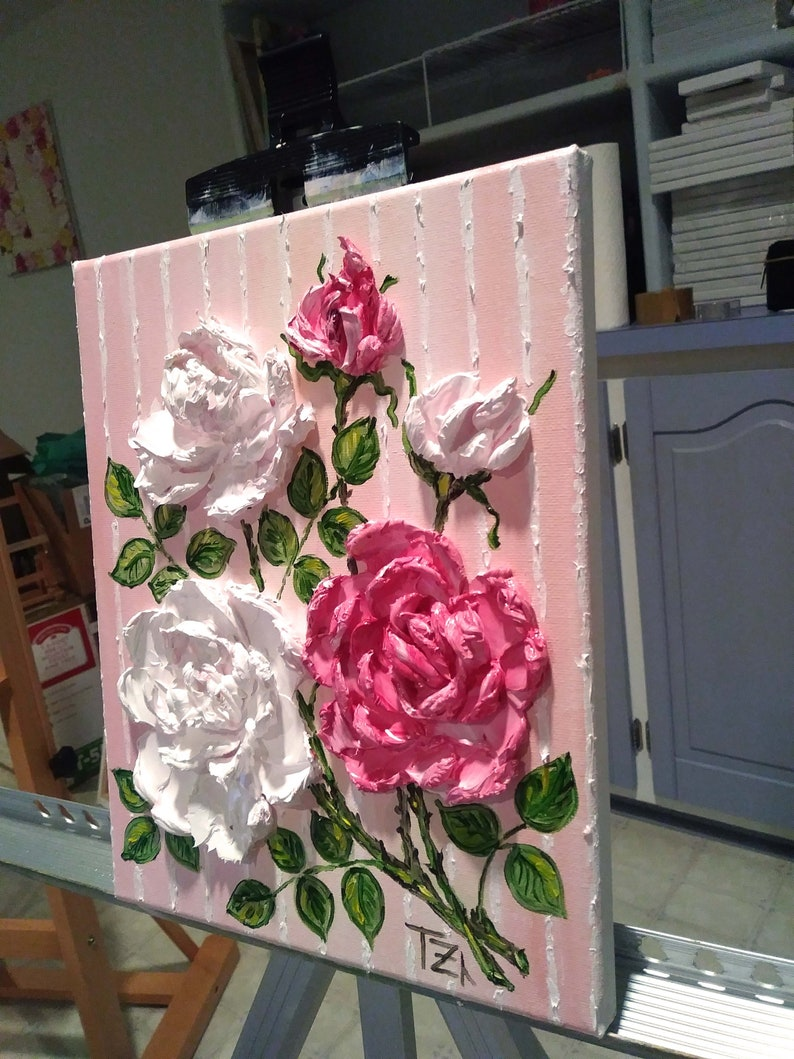 Rosa pittura originale arte murale botanica regali | Etsy