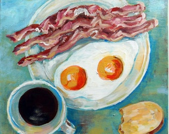 """Breakfast - Still life No.01-01  acrylic painting on STRETCHED CANVAS size 12"""" by 12"""" ready to hang"""