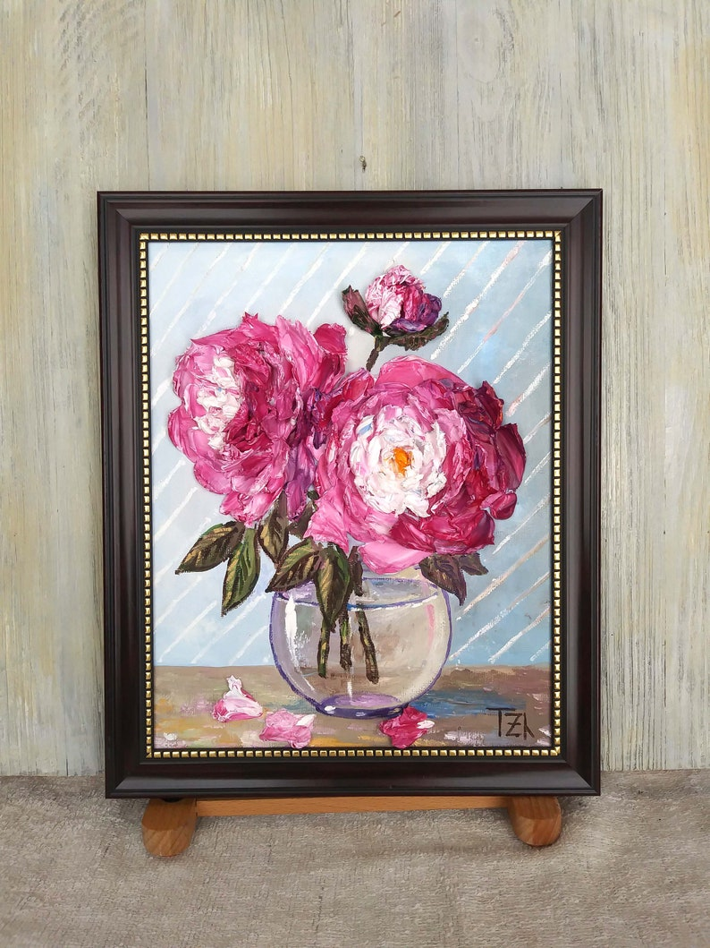 Pink Peonies in a Vase Original impasto Ranunculi oil painting Framed No.04-214 hang or stand alone