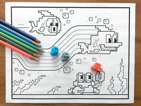 Bit Figs Coloring Page: Swim Pixel Art DIY Printable Color Etsy