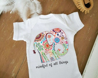 4d4b2a75939 Gypsy Elephant Mindful of All Things Free Spirit baby romper one piece boho    baby clothes   Baby Shower Gift   Bohemian Baby