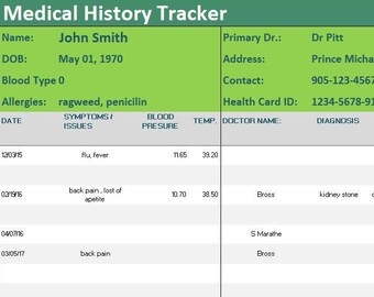 excel templates for medical records