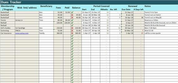 Gebühren-Tracker-Excel-Vorlage Vorauszahlungen Log Tabelle | Etsy