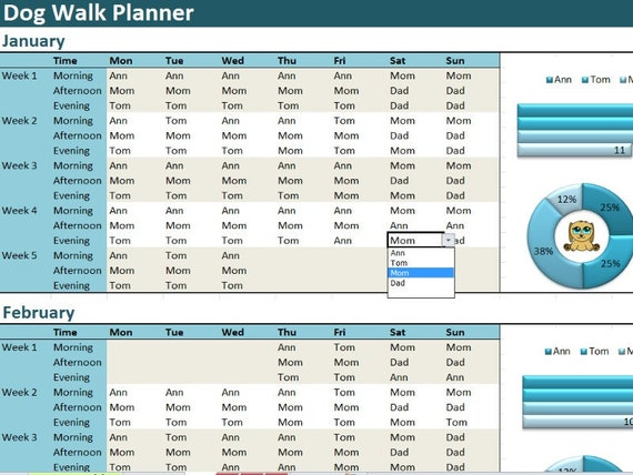 Hund Fuß-Planer Excel-Vorlage Aktivität Tagebuch-Tabelle | Etsy