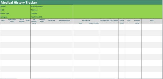 medical history tracker excel template symptoms diary medical etsy