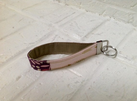 Key Fob Wristlet  Pink Key Chain  Fabric Key Fob  Key Lanyard  Wrist Lanyard  Key Holder  Pink /& Aqua Key Fob  5-inch key wristlet