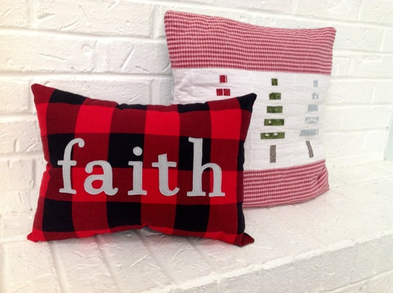Christmas Pillow Faith Pillow Red And Black Buffalo Check Etsy