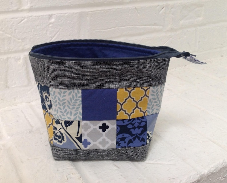 087dde96a64b Zippered pouch / cosmetics bag / zip bag / makeup pouch / coin purse /  gray, blue, gold bag / small item storage / craft or sewing storage
