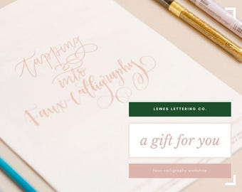 Gift Certificate for Lewes Lettering Co.'s Faux-Calligraphy Workshop