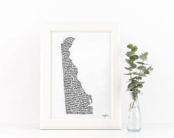Delaware State Outline Print with Bars/Restaurants