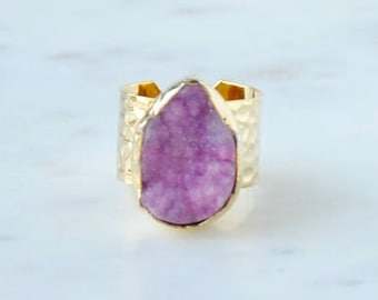 Druzy Ring, Gold Band Ring, Pink Stone Ring, Purple Stone Ring
