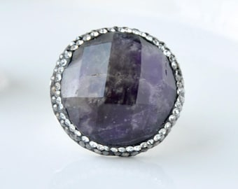 Amethyst Circle Ring, Amethyst Ring, Statement Ring, Silver Band Ring, Gemstone Ring