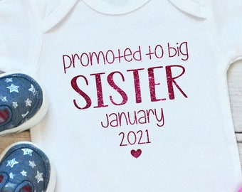 Printed Pregnancy Reveal Party Pink Ombre Unicorn Big Sister Toddler T-Shirt