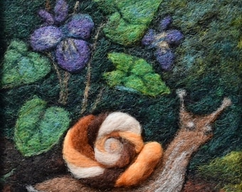 Wool Painting ~ Needle Felting ~ Wool Picture ~ Wool landscape ~ Snail and Violets ~ Forest Floor ~ Gift for Gardener