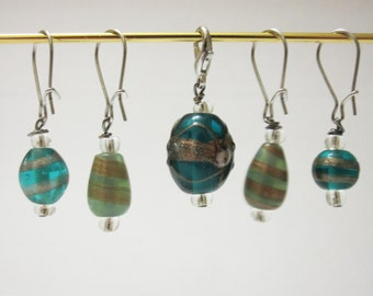 Blue glass and clear bead stitch markers for Knitting and Crochet