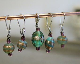 Blue and Gold with purple beads Stitch markers for Knitting and Crochet