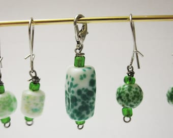 Green Spotted Stitch Markers for Knitting and Crochet