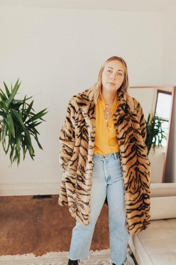 faux fur oversized animal print jacket