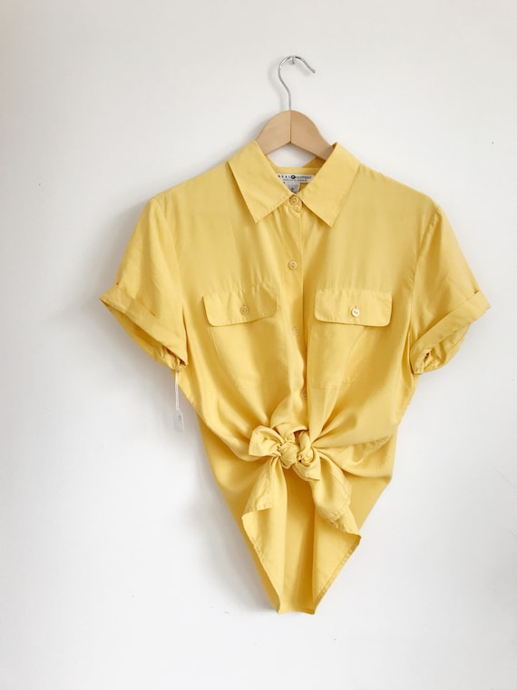 bright yellow silk blouse