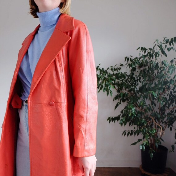 70's orange leather trench coat