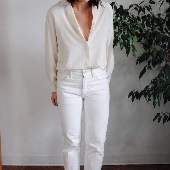 vintage ivory silk blouse