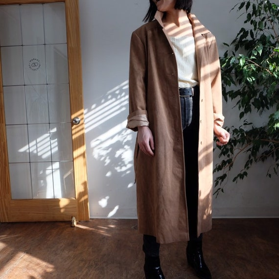 vintage microsuede oversized trench