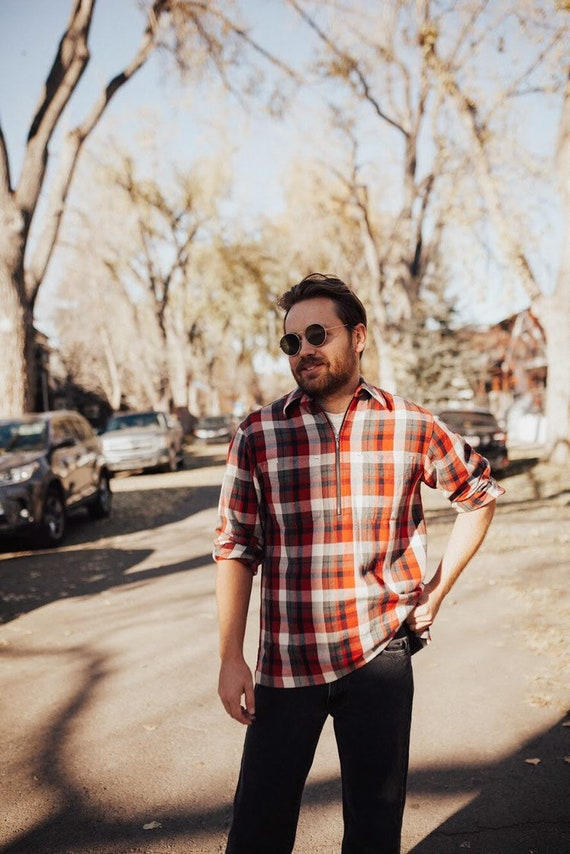 Eddie Bauer flannel plaid pull-over
