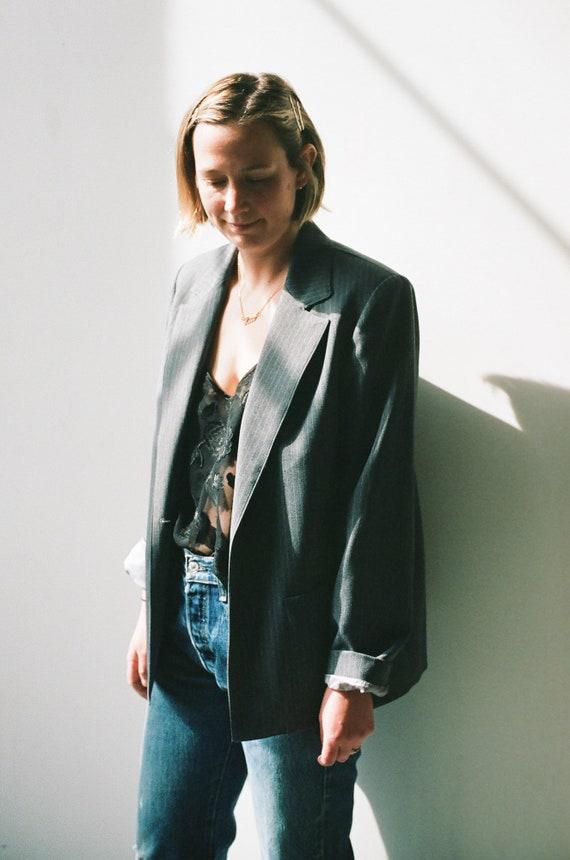grey pinstripe boxy blazer
