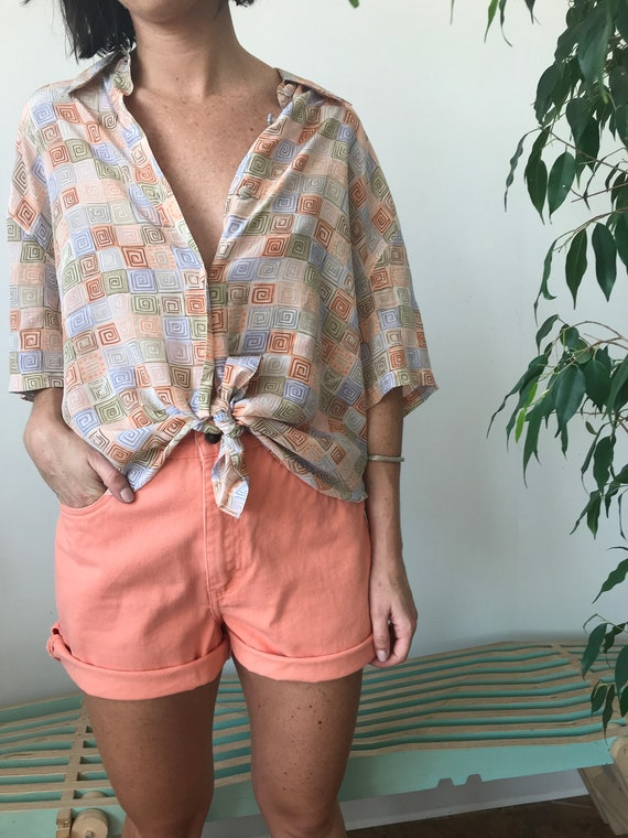 oversized pastel vintage silk blouse