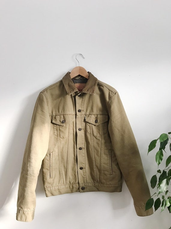 levi's quilted khaki jacket with corduroy detail