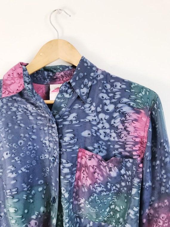 oversized vintage tie-dye silk blouse