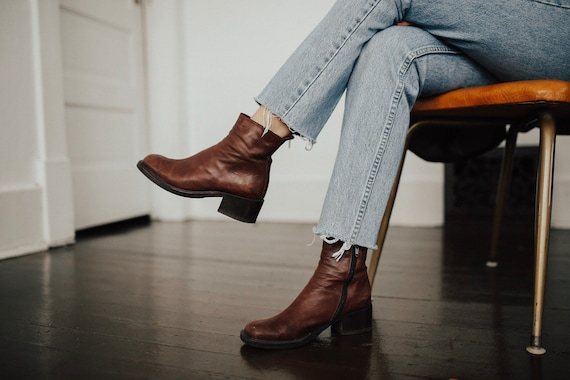 soft brown leather ankle booties