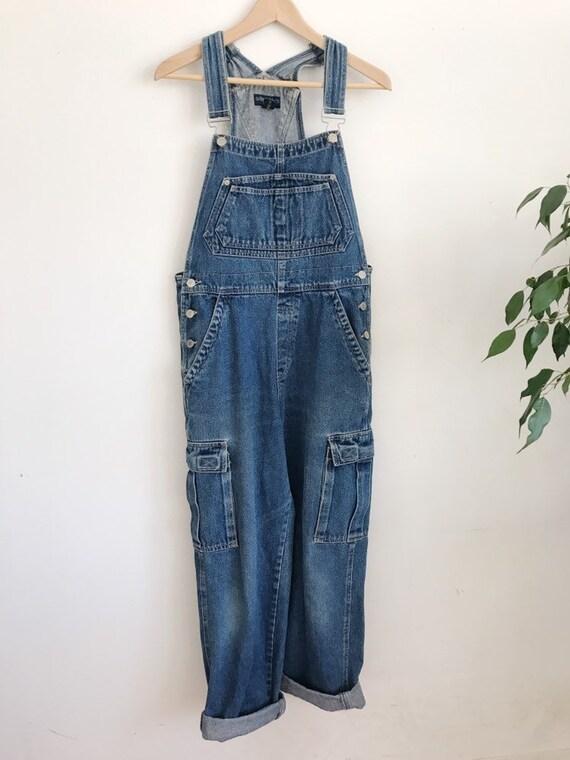 cargo pocket denim overalls