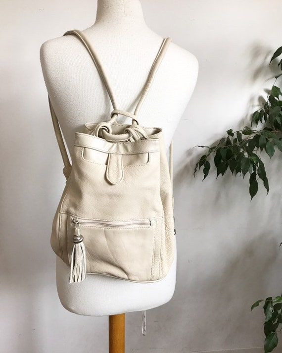 creamy leather backpack