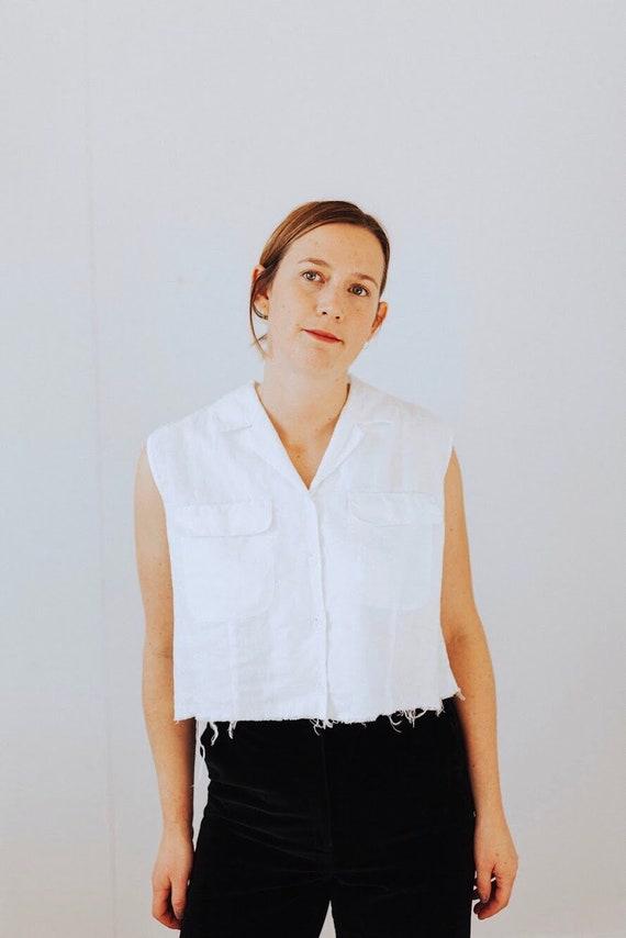 white linen crop top