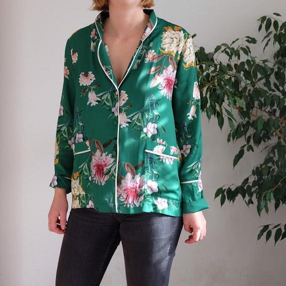sateen floral kimono blouse