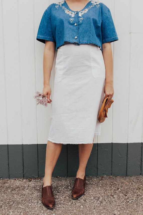linen tie-top midi-skirt