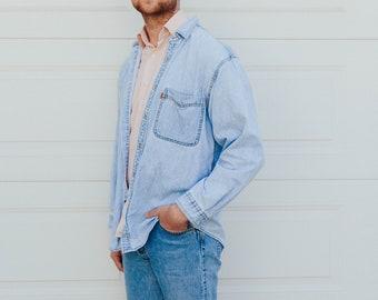 vintage light-wash levis denim shirt