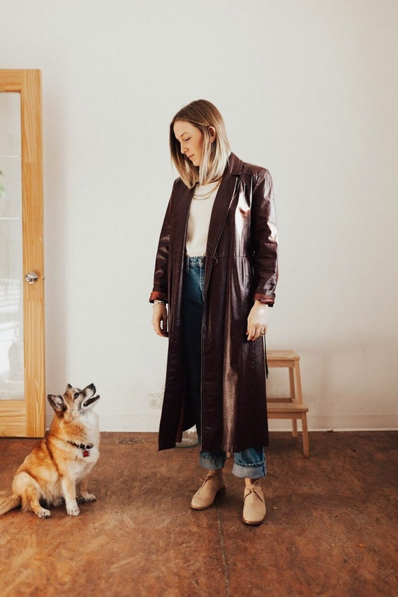 burgandy vintage leather trench
