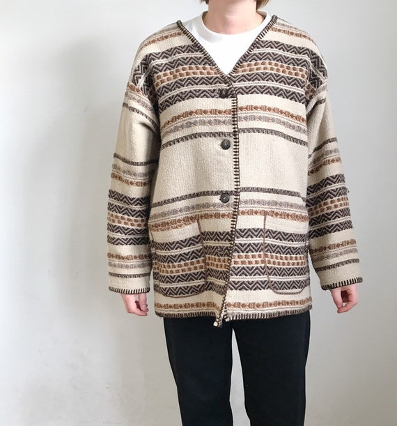 handwoven wool poncho jacket