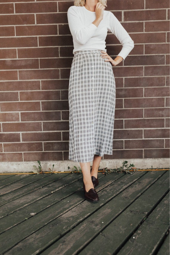 long plaid maxi skirt