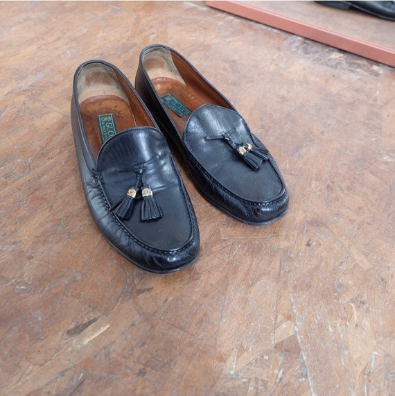 vintage black leather gucci loafers