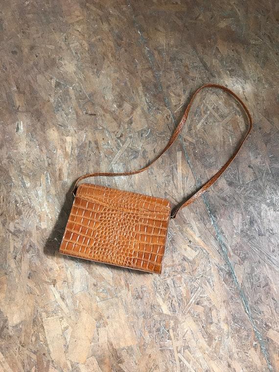 vintage faux snake skin cross body purse