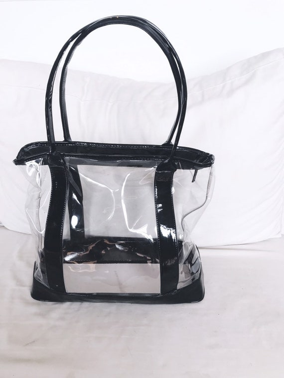 large clear & patent tote
