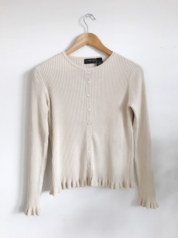 silk ribbed cardi with ruffle details