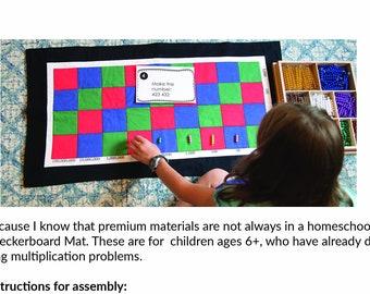 Montessori, Printable Multiplication Checkerboard Mat, Montessori Math, Montessori Elementary, Montessori Homeschool, Montessori at Home