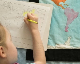 Montessori Map Coloring Pages, Montessori Map Work, Montessori Materials, Montessori Geography Work, Teacher Gifts, Gifts for Children,